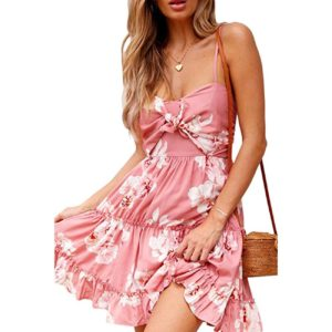 Womens Dresses Floral Spaghetti Strap Tie Knot